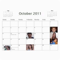 Moms Family Calender By Michelle   Wall Calendar 11  X 8 5  (12 Months)   Rogttghaye4w   Www Artscow Com Oct 2011