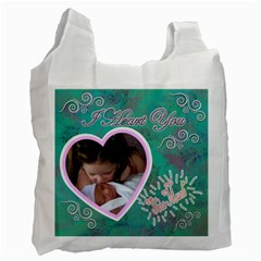 I Heart You This Much Aqua Double Recycle Bag 2 Sides By Ellan   Recycle Bag (two Side)   74n8o67z7ur3   Www Artscow Com Front