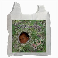 I Heart You This Much Green Pink Double Recycle Bag 2 Sides By Ellan   Recycle Bag (two Side)   U8c396eyw3fz   Www Artscow Com Front