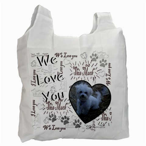 We Love You This Much Paw Black White Recycle Bag By Ellan   Recycle Bag (one Side)   Svqeqjkwp47l   Www Artscow Com Front