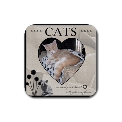 Cats Can Steal Your Heart Coaster By Lil    Rubber Coaster (square)   Ss5qros0gbs2   Www Artscow Com Front
