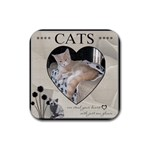 Cats can steal your heart Coaster - Rubber Coaster (Square)