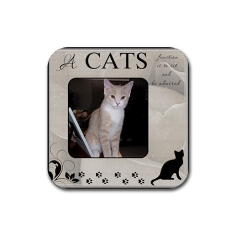 A Cats Function Coaster By Lil    Rubber Coaster (square)   Set8redz0c8u   Www Artscow Com Front