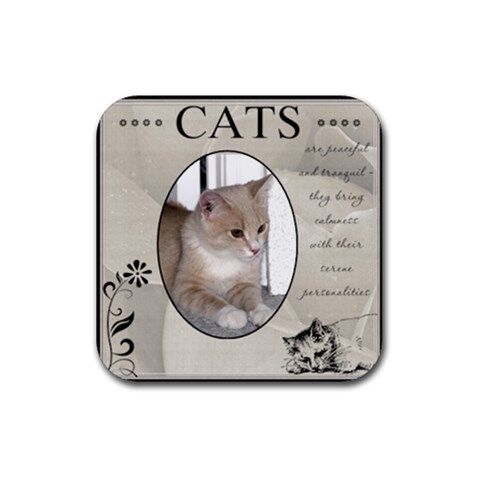 Cats Are Peaceful Coaster By Lil    Rubber Coaster (square)   Fhra3fv2d2h5   Www Artscow Com Front