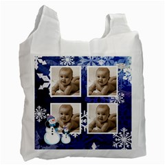 Let It Snow Midnight Blue Recycle Bag By Catvinnat   Recycle Bag (two Side)   6spculy2iveg   Www Artscow Com Front