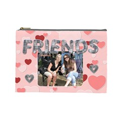Friends Pink Heart Large Cosmetic Bag By Lil    Cosmetic Bag (large)   Tfp7xcxts1da   Www Artscow Com Front