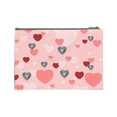 Friends Pink Heart Large Cosmetic Bag By Lil    Cosmetic Bag (large)   Tfp7xcxts1da   Www Artscow Com Back