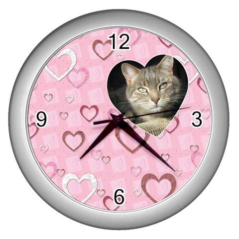 Pretty Pink Heart Wall Clock By Lil    Wall Clock (silver)   6ahc8k573b4m   Www Artscow Com Front
