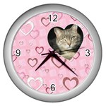 Pretty Pink Heart Wall Clock - Wall Clock (Silver)