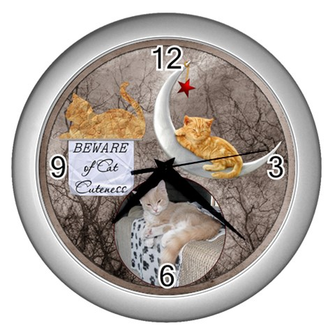 Cat Cuteness Wall Clock By Lil    Wall Clock (silver)   N3wbwgvdsojd   Www Artscow Com Front