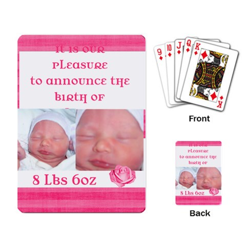 New Baby Announcement By Brookieadkins Yahoo Com   Playing Cards Single Design   Hikc4xytk5zd   Www Artscow Com Back
