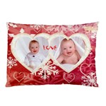 My winter valentine love heart snowflake pillow case