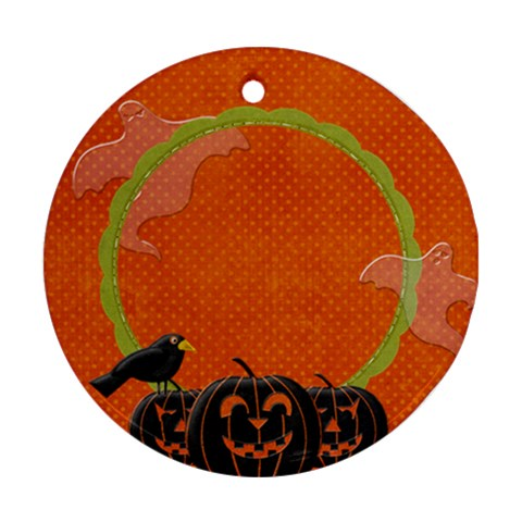 Scrapdzines  Ghostly Halloween Ornament By Denise Zavagno   Ornament (round)   4d8vmfsumtsf   Www Artscow Com Front