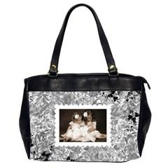 Grey Floral Oversized Handbag By Catvinnat   Oversize Office Handbag (2 Sides)   Emd9waemr08f   Www Artscow Com Front