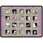 Grannies floral patchwork blanket extra large fleece - Fleece Blanket (Large)