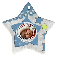Christmas Baby Blue   Ornament By Carmensita   Star Ornament (two Sides)   J5mtvn5htpja   Www Artscow Com Front
