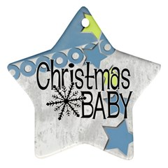 Christmas Baby Blue   Ornament By Carmensita   Star Ornament (two Sides)   J5mtvn5htpja   Www Artscow Com Back