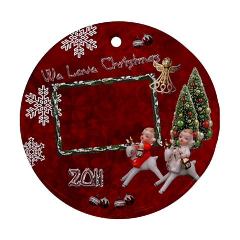 Children Riding Reindeer 2011 Ornament Round By Ellan   Ornament (round)   K86l2aje5o4d   Www Artscow Com Front