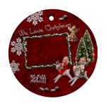 Children riding reindeer 2011 ornament round - Ornament (Round)