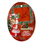 Merry Christmas Candy Cane Angel 31 oval Christmas Ornament - Ornament (Oval)