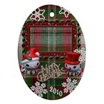 Snowman Merry Christmas oval Christmas Ornament - Ornament (Oval)
