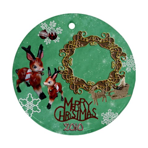 Reindeer Sleigh Merry Christmas 2010 Ornament 30 Ornament Round By Ellan   Ornament (round)   Tng08gzv4xui   Www Artscow Com Front