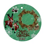 Reindeer Sleigh Merry Christmas 2010 ornament 30 ornament round - Ornament (Round)
