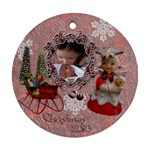 Angel w Baby pink 2010 30 ornament round - Ornament (Round)