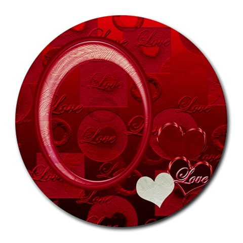 I Heart You Love Round Mousepad By Ellan   Round Mousepad   2pi3j61bo35r   Www Artscow Com Front