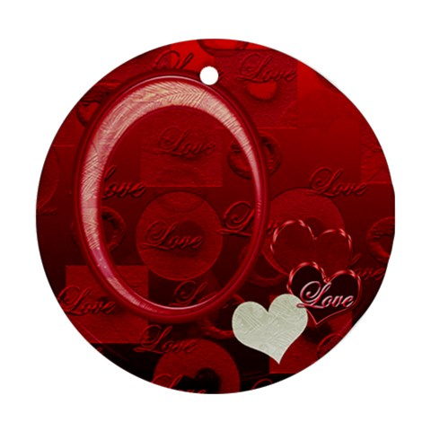 Love Heart Red Ornament Round By Ellan   Ornament (round)   Hicecxm0b55d   Www Artscow Com Front