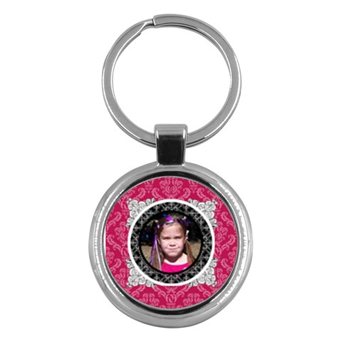 Pink, Black, & White Keychain By Klh   Key Chain (round)   Ibmt5f0nafz6   Www Artscow Com Front