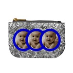 triplets blue frame grey floral mini coin purse