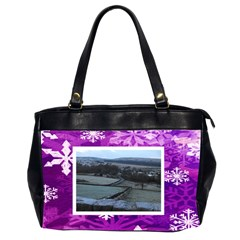 Purple Snowflakes Oversized Office Handbag 3          By Catvinnat   Oversize Office Handbag (2 Sides)   T5ona816oi10   Www Artscow Com Front
