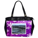 Purple snowflakes oversized office handbag 3......... - Oversize Office Handbag (2 Sides)