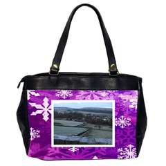 Purple Snowflakes Oversized Office Handbag 3          By Catvinnat   Oversize Office Handbag (2 Sides)   T5ona816oi10   Www Artscow Com Back