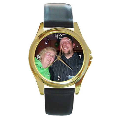 Chris And Paula By Melanie   Round Gold Metal Watch   L6egnolvbp24   Www Artscow Com Front