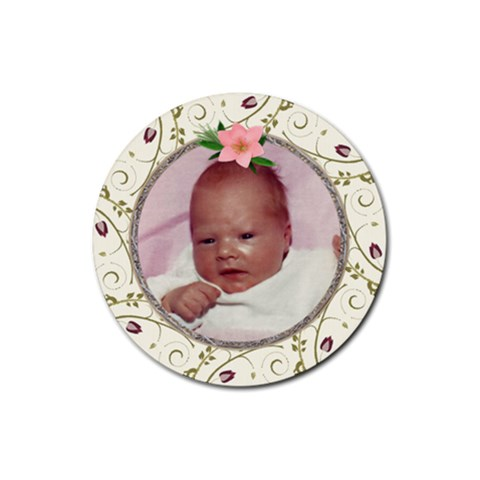 Pink Floral Round Coaster By Lil    Rubber Coaster (round)   Fjb4qs4psfj6   Www Artscow Com Front