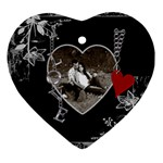 Black Floral Love Heart ornament - Heart Ornament (Two Sides)