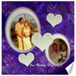 Our Wedding Day purple heart 12x12 Canvas - Canvas 12  x 12