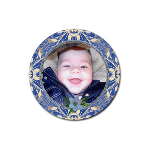 Blue Floral Round Coaster By Lil    Rubber Coaster (round)   Ox1v1454dkd6   Www Artscow Com Front