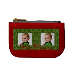 Merry Christmas Mini Coin Purse (red) By Jen   Mini Coin Purse   Nlaxyiysreed   Www Artscow Com Front