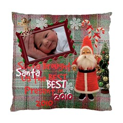 Santa Just Brought Us The Best Present 2010 Plaid 2 Sided Cushion Case By Ellan   Standard Cushion Case (two Sides)   Gsb737dawc9q   Www Artscow Com Front