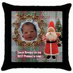 Santa Brought Us the BEST Present in 2010 plaid Throw Pillow Case 18 inch - Throw Pillow Case (Black)