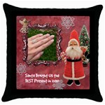 Santa Brought Us the BEST Present in 2010 pink Throw Pillow Case 18 inch - Throw Pillow Case (Black)