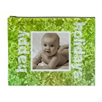 Happy Holidays Green floral extra large cosmetics bag - Cosmetic Bag (XL)
