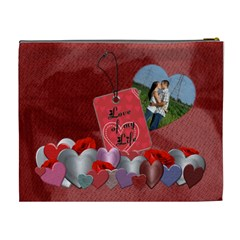 Love Of My Life Xl Cosmetic Bag By Lil    Cosmetic Bag (xl)   3pegfghvst2j   Www Artscow Com Back