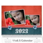 Calendar-Red & Blue - Wall Calendar 11  x 8.5  (12-Months)
