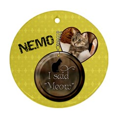 Cat 2 Sided Round Ornament By Lil    Round Ornament (two Sides)   Ht8gc5ql5ydr   Www Artscow Com Back