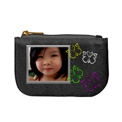 Gray Butterfly Kisses Mini Coin Purse By Purplekiss   Mini Coin Purse   Qr31r07dqmxs   Www Artscow Com Front