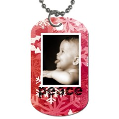 Peace & Joy Red Snowflake L Dog Tag By Catvinnat   Dog Tag (two Sides)   Lj5ffp8i64sy   Www Artscow Com Front